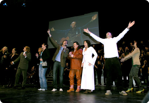 All the artists on stage together