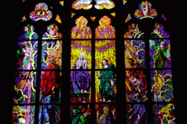 Image of Stained glass art from St. Vitus Cathedral in Prague, Czech Republic.