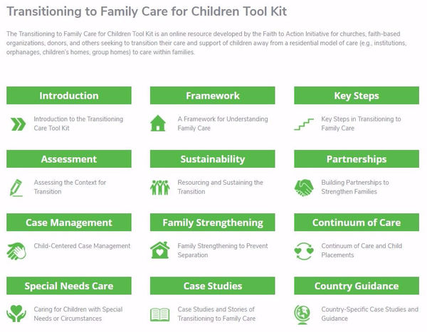 Transitioning to Family Care for Children Tool Kit in English, French, and Spanish